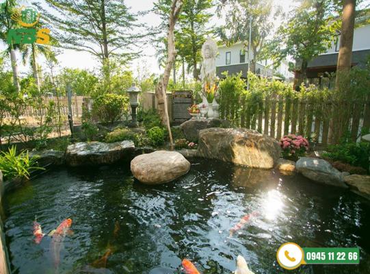 Thiết kế cảnh quan sân vườn kết hợp hồ cá Koi mang đến không gian sống xanh.