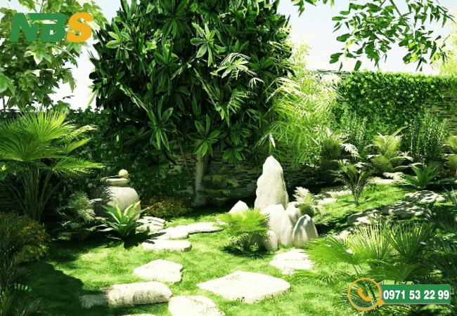 Thiết kế sân vườn biệt thự với nhiều cây xanh