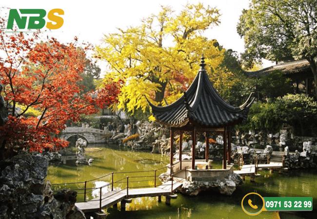 Thiết kế sân vườn biệt thự phong cách Trung Quốc