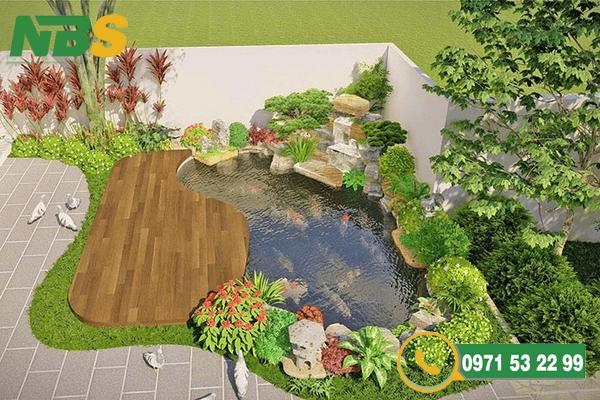 Mẫu hồ cá Koi ngoài trời cho thiết kế sân vườn nhỏ