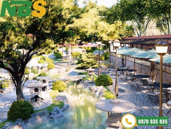 Thiết kế tiểu cảnh quán cafe vườn Nhật Bản