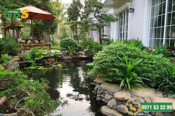 Mẫu thiết kế tiểu cảnh sân vườn hồ tĩnh đẹp