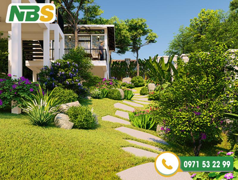 Thiết kế sân vườn biệt thự phong cách hiện đại
