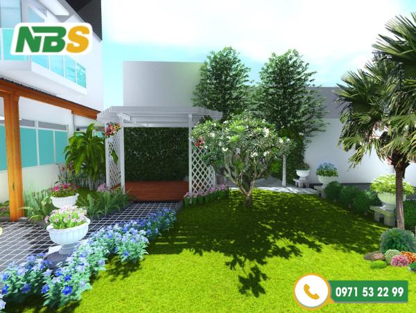 Thiết kế sân vườn phù hợp với xu hướng thời đại thể hiện được năng lực thiết kế của đơn vị thiết kế cảnh quan