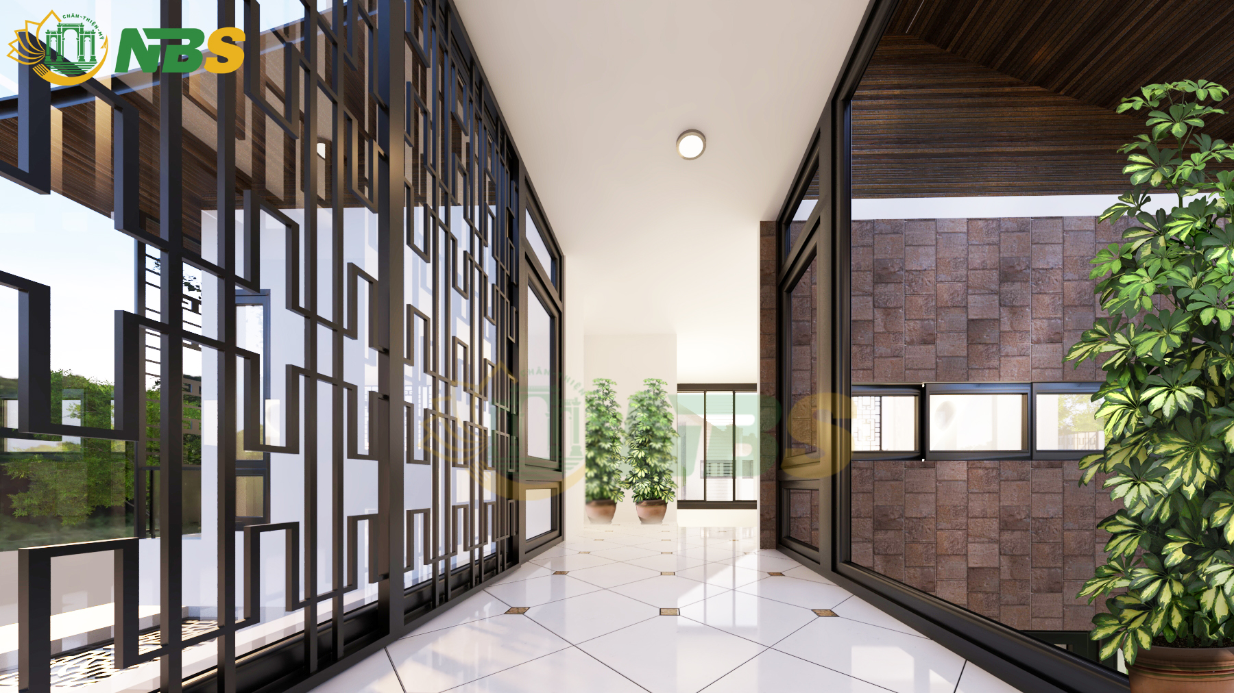 Nhà chính được làm chủ yếu bằng vật liệu gỗ