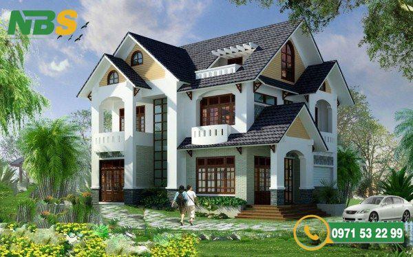 Mẫu thiết kế nhà vườn 2 tầng mái Thái đơn giản