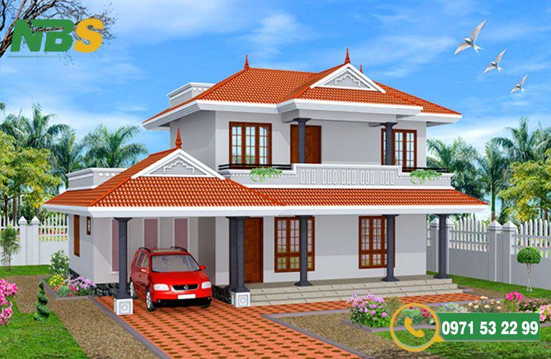 Mẫu thiết kế nhà vườn 2 tầng mái Thái phong cách Châu Âu