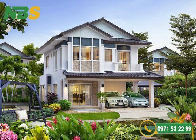 Mẫu thiết kế nhà vườn 2 tầng mái Thái phong cách hiện đại