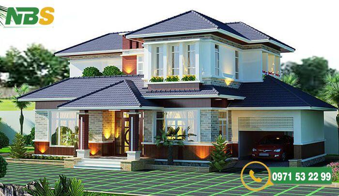 Mẫu nhà vườn 2 tầng mái Thái nhiều cây xanh
