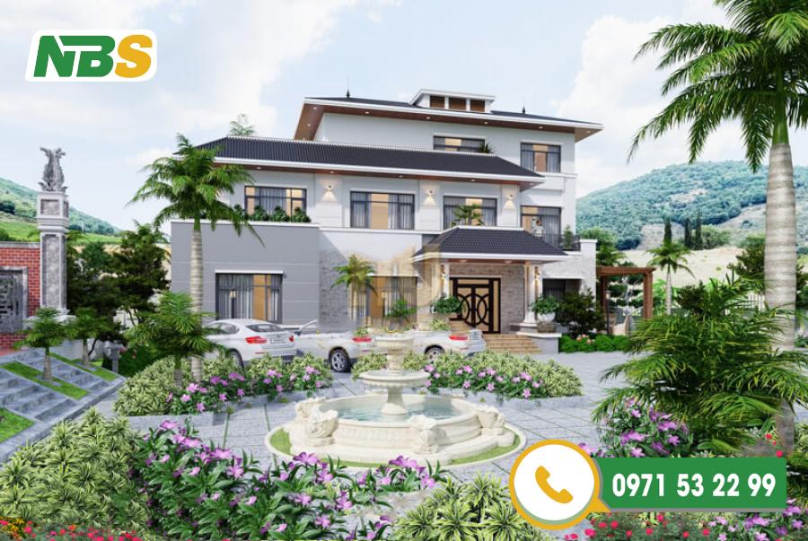Thiết kế sân vườn biệt thự đẹp với điểm nhấn đài phun nước