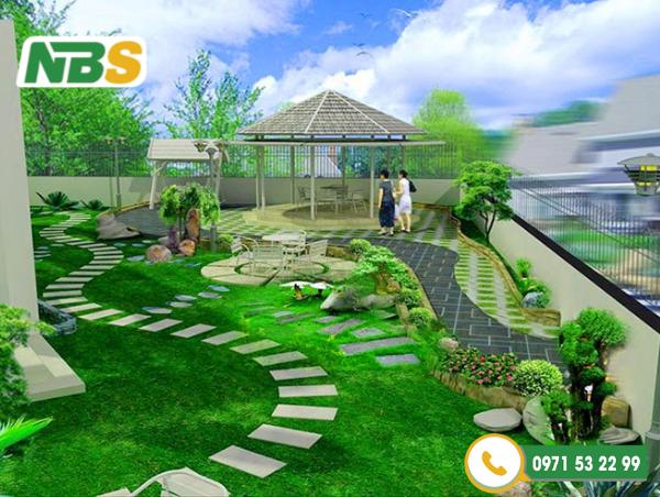 Sân vườn nhà quê không thể thiếu thảm thực vật